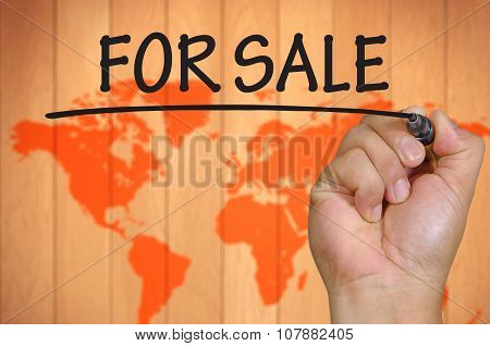 Hand Writing For Sale Over Blur World Background
