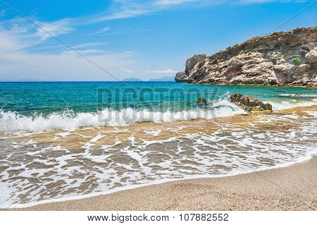 Beautiful Beach With Turquoise Water And Cliffs