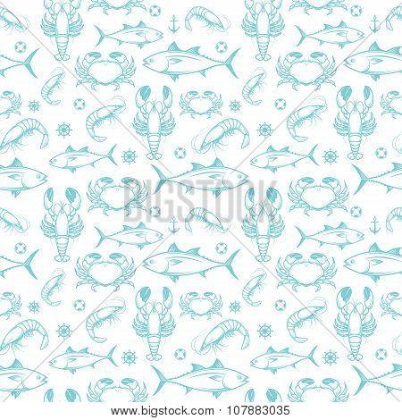 Seafood seamless pattern