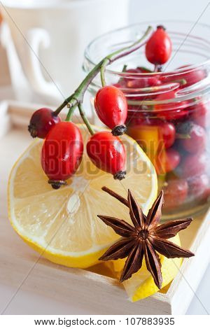 Fresh Rosehip Fruit Tea With Lemon
