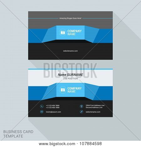 Modern Creative And Clean Business Card Template Blue Ribbon In Flat Design Style. Vector Illustrati