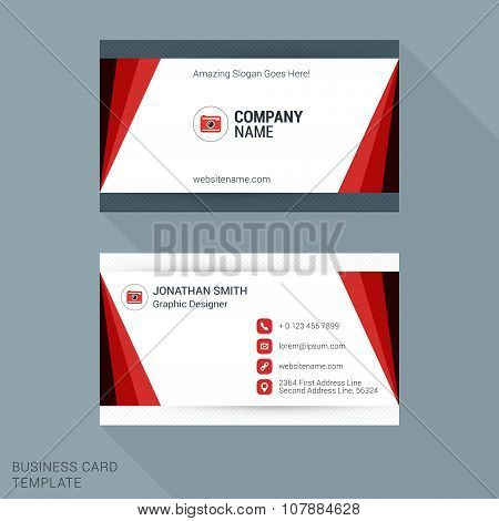 Modern Creative And Clean Business Card Template In Red Color. Vector Illustration