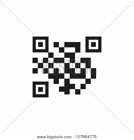 The QR code icon.  Link and URL symbol. Flat