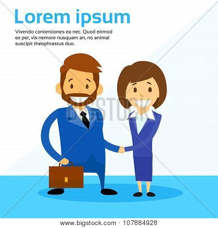 Business Man and Woman Handshake Contract Communication