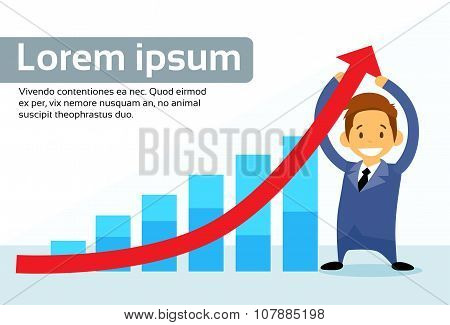 Businessman Hold Financial Graph Red Arrow Up