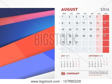August 2016. Desk Calendar For 2016 Year. Vector Stationery Design Template With Material Design Abs