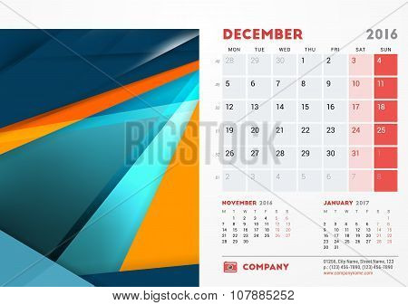 December 2016. Desk Calendar For 2016 Year. Vector Stationery Design Template With Material Design A