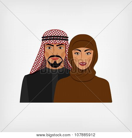 Arab Man And Woman In Traditional Clothes