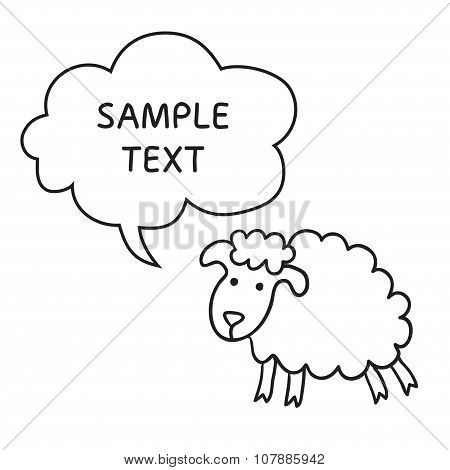 Sheep With Speech Bubble. Illustration card with hand drawn lamb and bubble speech.