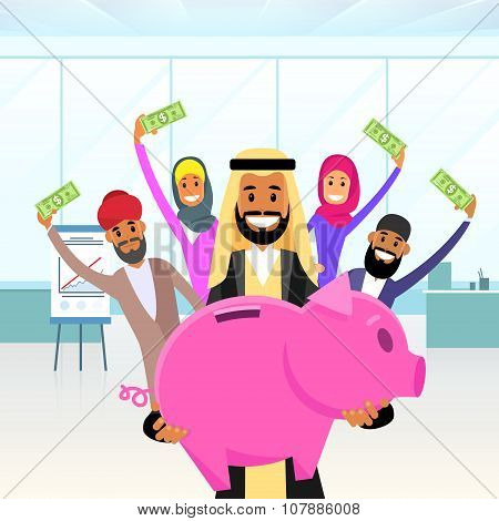 Business People Arab Team Hold Piggy Bank Put Money Savings Arabic