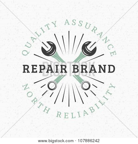Crossed Wrenches. Vintage Retro Design Elements For Logotype, Insignia, Badge, Label. Business Sign
