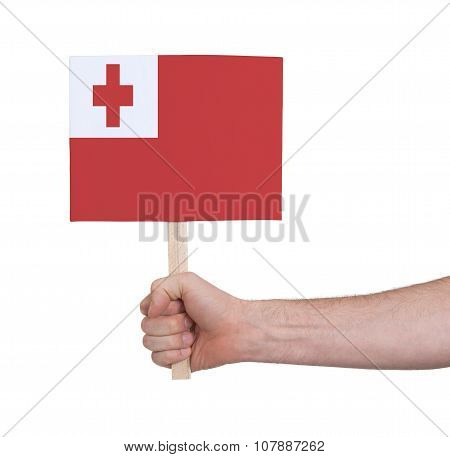 Hand Holding Small Card - Flag Of Tonga
