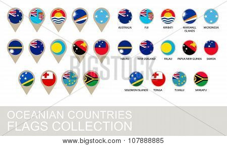 Oceania Countries Flags Collection
