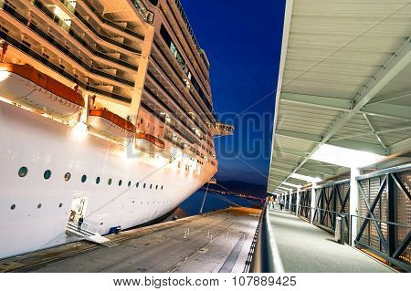 MSC Fantasia ship docked at Marseille Harbour
