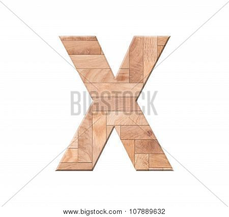 Wooden Parquet Alphabet Letter Symbol - X. Isolated On White Background
