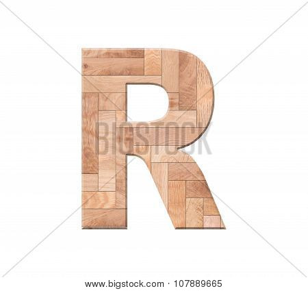 Wooden Parquet Alphabet Letter Symbol - R. Isolated On White Background