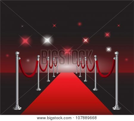 Red carpet movie premiere elegant event with hollywood in background