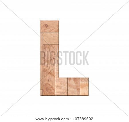 Wooden Parquet Alphabet Letter Symbol - L. Isolated On White Background
