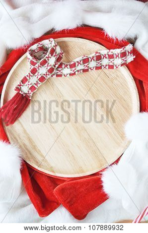 Wooden Plate On Holiday Concept