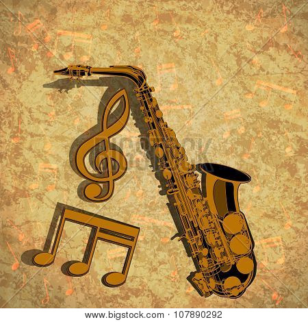 Saxophone Treble Clef And Musical Note On Textural Background