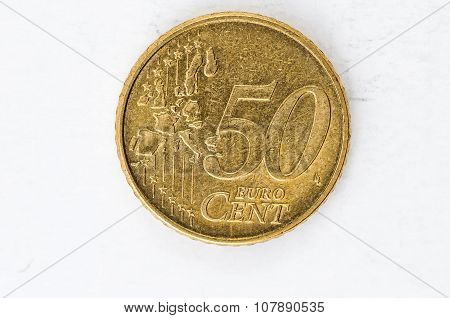 50 Euro Cent Coin With Frontside Used Look