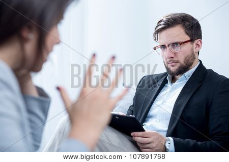 Emotionally Unstable Woman During Psychotherapy