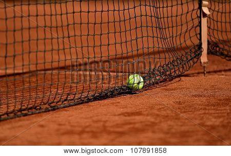 Tennis Ball On Tennis Clay Court