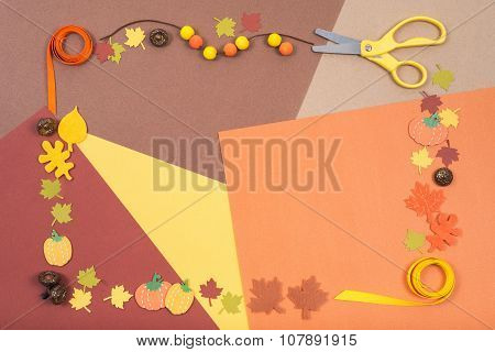 Colorful Accessories For Autumn Craft Arranged In A Frame