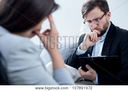 Psychiatrist Talking With Despair Businesswoman