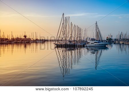 Sunrise over the Alicante harbor, Costa Blanca