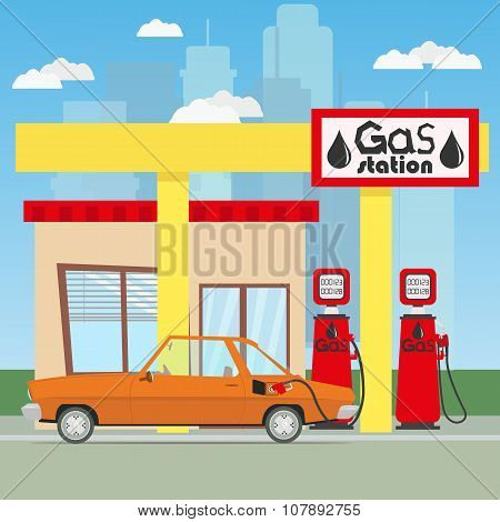 car refuels gasoline at the gas station
