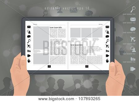 Digital layout e-magazine, vector