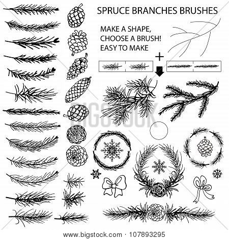 Spruce branches brushes,Pine cones,bow silhouette set