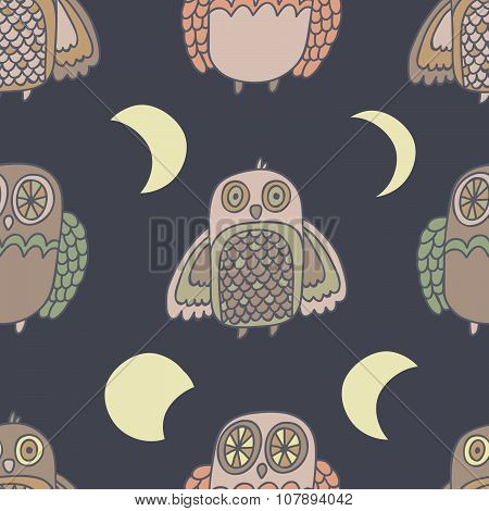 Night creatures seamless vector pattern with adorable owls Moon phases. Hand drawn texture for fabri