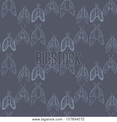 Night creatures seamless vector pattern with moths and fireflies. Hand drawn insects.