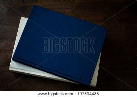 Aged Book Blue Empty Cover On Wooden Table