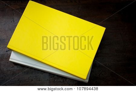 Aged Book Yellow Empty Cover On Wooden Table