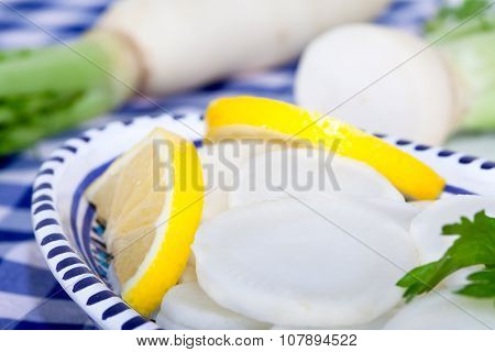 Sliced daikon radish salad