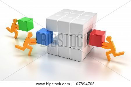 Fitting missing pieces of a puzzle cube