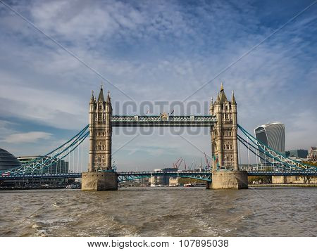 Tower Bridge Panorama In London Seen From River Thames