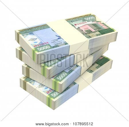 Burundian francs bills isolated on white background. Computer generated 3D photo rendering.
