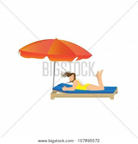 Woman Lying Under A Beach Umbrella.