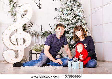 Christmas Family Portrait In Home Holiday Living Room, House Decorating By Xmas Tree