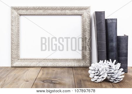 Silver Frame With Books