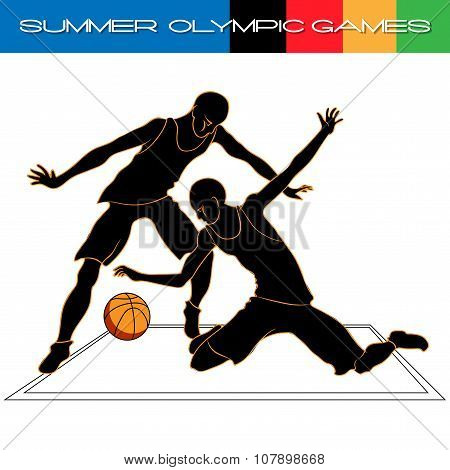 Summer Olympic Igry Volleyball Silhouettes