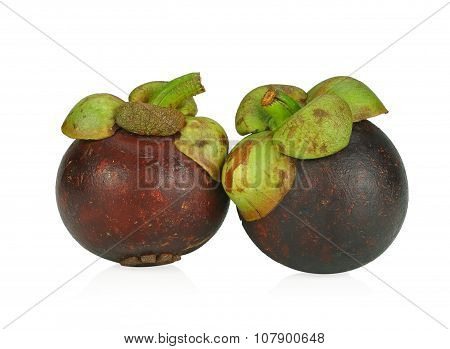 Mangosteen Fruit On White Background