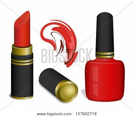 Scarlet lipstick and nail polish