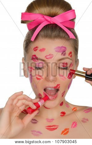 Beautiful Woman With Kisses And Lipstick Of Face