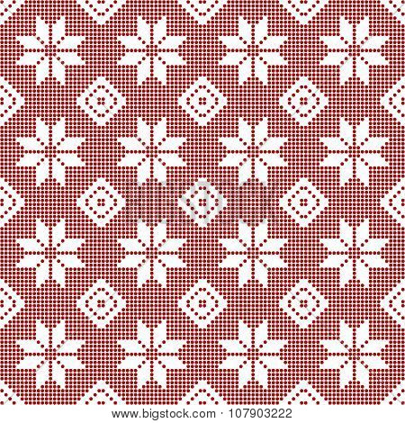 Seamless Pattern Of Polka Dots With Snowflakes
