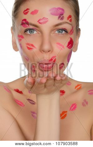 Woman With Kisses On His Face Sending Kiss
